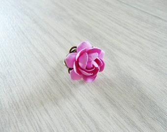 Pink gardenia ring, flower ring, pink flower, pink colour, handmade flowers, handmade ring, gardenia flower, flower jewelry.