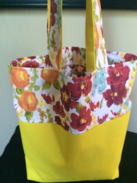 Handmade tote bag with yellow Waterproof Cordura bottom