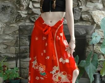 1920's kimono skirt in red silk