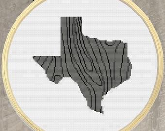 Texas State Cross Stitch Pattern PDF Download - Wood Grain Pattern - embroidery pattern, instant download, Dallas, natural pattern, Austin