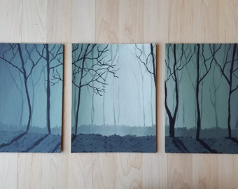 Set of 3 acrylic forest paintings