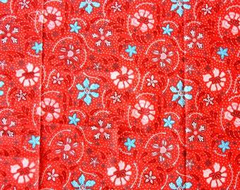 Indonesian Batik Fabric / Traditional / Floral Print / Flowers / Panel / Red Blue / Sarong Skirt Clothing Dress Shirt / Extra long 215cm