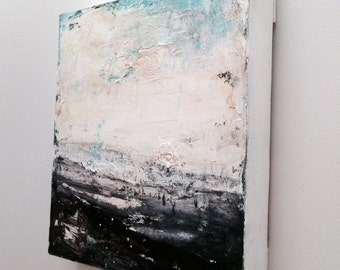 Original Black and White Abstract Painting, Modern Contemporary Abstract, small black and white abstract painting