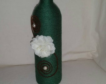Custom twine wrapped wine bottle with white rose / upcycled bottle/ string covered / bud vase / candle holder / ornamental / home decor