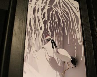 Willow Tree Crane, Paper Cut Sculpture.