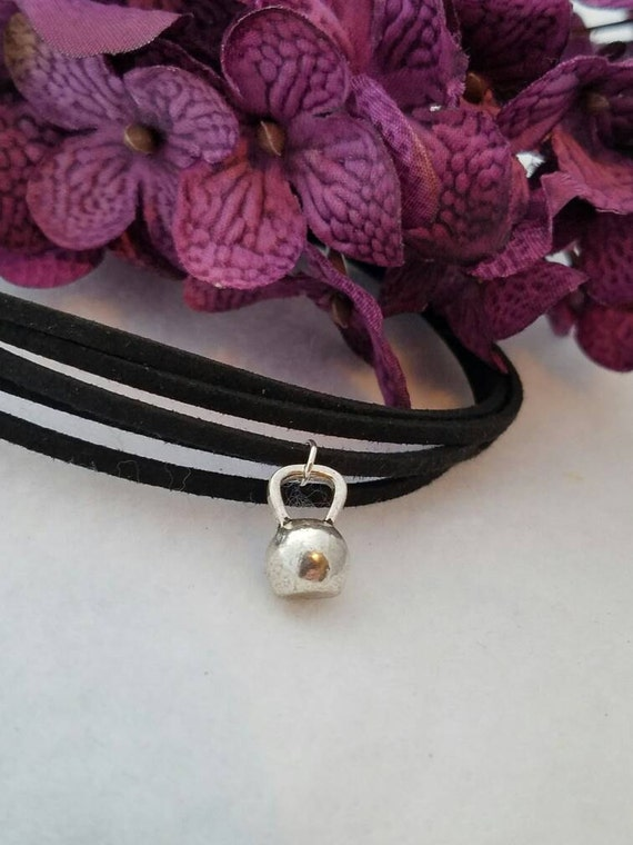 Kettlebell Choker, Black Leather Choker, Kettle Bell Jewelry, Kettlebell Charm, Multi Strand Leather Choker, Fitness Bodybuilding Charm Gift