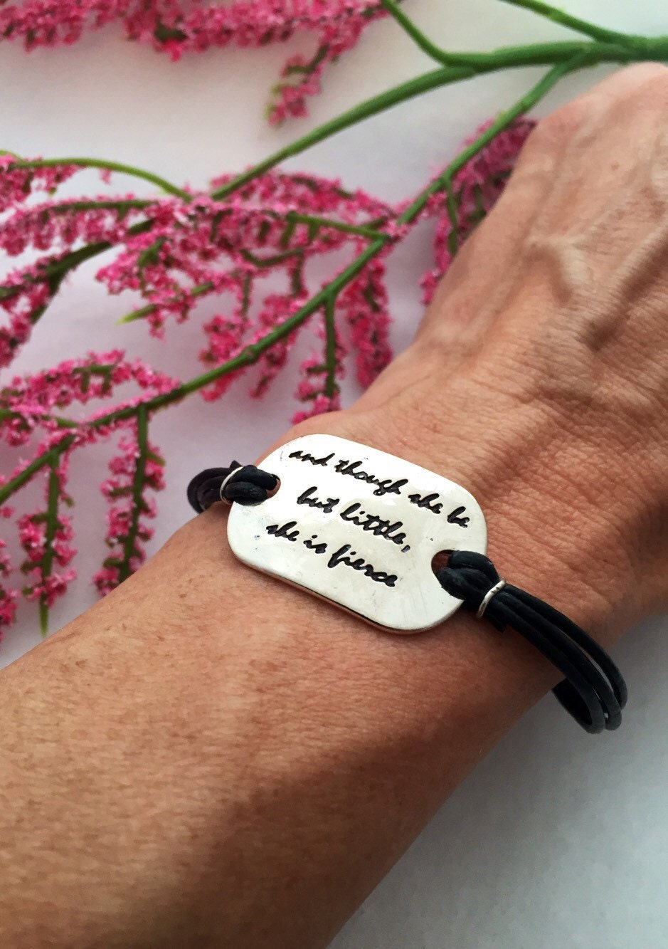 She Is Fierce, Inspirational Quotes, Engraved Bracelet, Leather Wrap  Bracelet, Wrist Wrap, Word Charms, Motivational Jewelry, Gifts For Mom