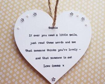 Friend gift handmade heart keepsake personalised Auntie, Niece, Sister, Daughter, Leaving, Thinking of You, Birthday