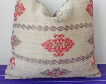50x50cm   large kilim pillow wool white pillow cover - 216b