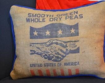 Burlap Pillow from Repurposed US made feed sack