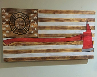 Firefighters Flag Wood American Flag Fireman Firefighter American Flag  Rustic Flag USA Red White Blue Old