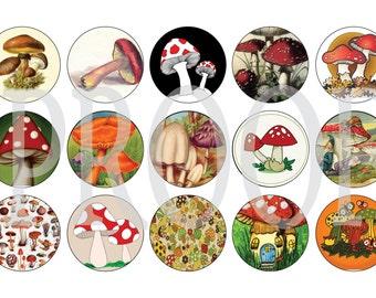 Digital Bottle Cap Image Sheet - Vintage Mushroom - 1 Inch Digital Collage - Instant Download