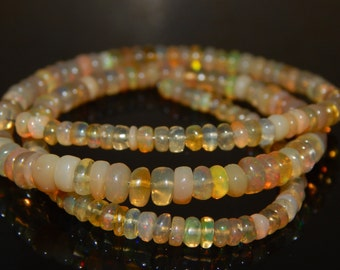 """17""""Inches Ethiopian Fair Opal Smooth Beads Rondelle Shape 3x5.5 mm Approx"""