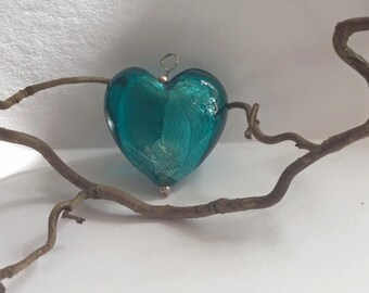 Turquoise Blue Lampwork/Murano Glass Heart Bead 45mm Multiple Colours Available