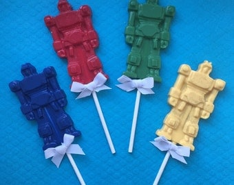 ROBOT Chocolate Pops(12)-TRANSFORMERS Party/Robot Favors