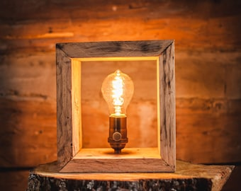 Shadow Box Edison Rustic table/shelf lamp