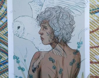 Flightless Birds series - Barn Owl - A6 Print