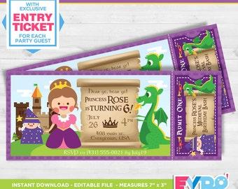 Princess Birthday.Princess Invitation.Princess Party.Ticket Invitation.Printable Invitation.Party Invitation.Editable File.Themed Party