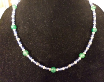 Green Agate Necklace Earring Set
