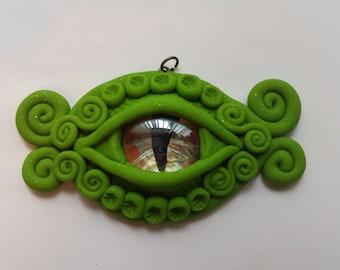 DE12 Dragon's Eyes in Light Green polymer clay