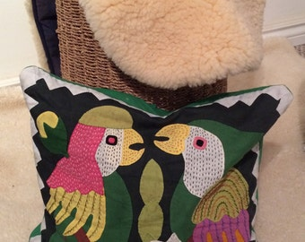 reserved for Queenie vintage hand stitched parrot pillow cover, bright colours, birds
