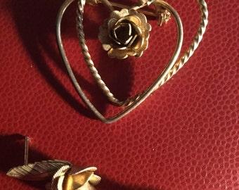Gold Heart Brooch Pin Rose Earrings 1960s