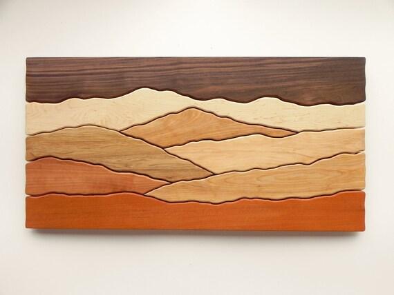 Mountain scene wood wall art /Sugar maple, Yellow birch, Red birch, Cherry, Butternut, Mahogany, Black walnut/