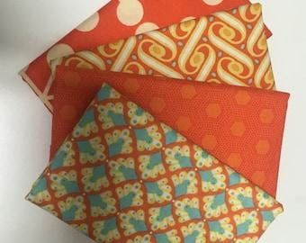 SALE - 4 Fat Quarters (Oranges) - Cotton fabric