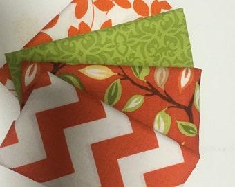 SALE - 4 Fat Quarters - (orange and green) - Cotton fabric