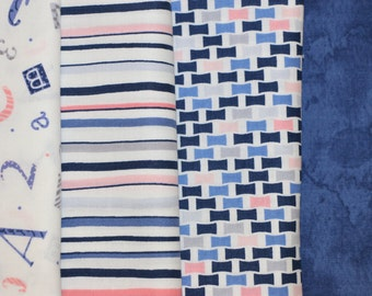 Baby Bundle (4 Half Yard Pieces) Navy, Light Blue, Pink - Cotton fabric
