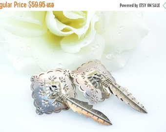 ON SALE Southwestern Native American Feather Post Earrings Sterling Silver 18.9g Vintage Estate