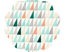 ORGANIC cotton fabric by the yard. La venta print fabric for cloud 9 fabrics. Modern triangle print fabric. Gray orange aqua cream fabric.