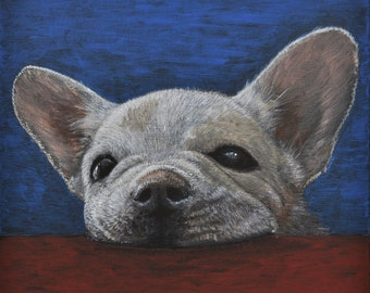 """Painting for sale - Cheeky French Bulldog puppy 12""""x12"""" box canvas in acrylic paint"""