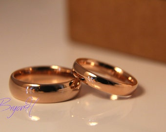 Rose gold Tungsten Carbide Rings for Men and Women, Rose gold Tungsten Wedding Bands Set, his and her promise ring, Matching set