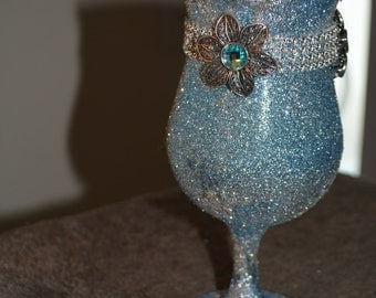 blue, silver, blue flowered wine glass