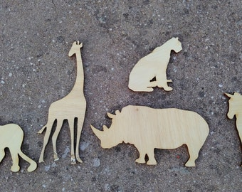 DIY supply/Unfinished wild animals /set of 5 wild animals/zoo animals/wooden supplies/wooden creations