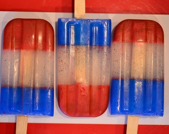 Red White and Blue Popsicle soaps