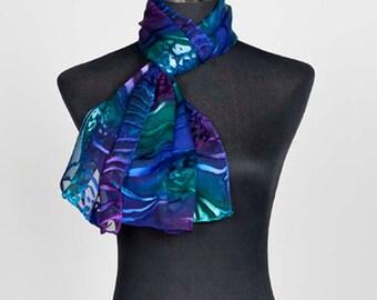 Deep Sea, hand-painted silk scarf, devore silk, silk scarves