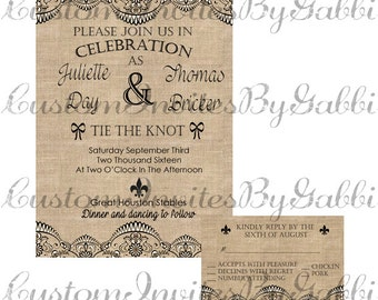 wedding invitation and rsvp (lace and burlap)