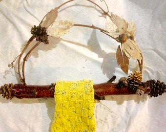 Red birch and white birch towel holder