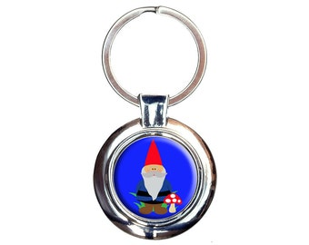 Garden Gnome Keychain Key Ring