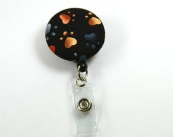 PAW Fabric Lanyard, Retractable Badge Reel, Paw Badge Reel, Black Badge Reel