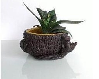 artificial wood pot-brown plant pot-planter wood-gift for- home dec-room planter-flower pot-carving wood-indoor pot-striped pot-branch pot