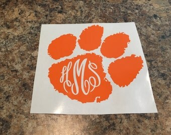 Tiger paw permanent car decal. Monogram decal