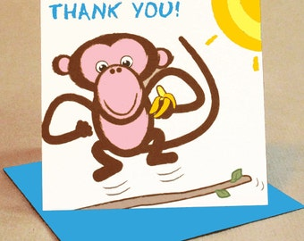 Monkey Thank You Card Pack Small (Pack Of 6)