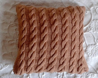Beige Cable Knit Pillow Cover - Cable Knit Pillowcase - Cable Knit Cushion Cover - Handmade Woolen Pillow Cover