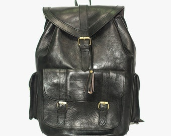 Luxury Leather Travel Backpack   80's Style