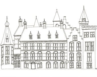 Original sketch of Dutch castle; black and white European picture, A4 drawing of Binnenhof, the Hague, Netherlands;