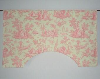 P Kaufmann Dawson Toile Raspberry Pink Mint Green French Custom Valance, Striped