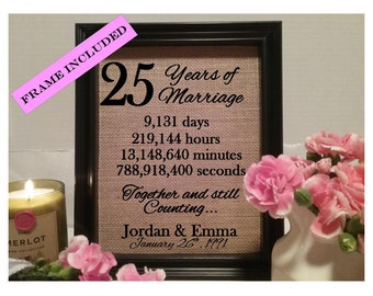 Framed 25th Anniversary Gift | 25th Wedding Anniversary Gifts | Personalized 25th Anniversary Gift | Anniversary Gift for Wife Husband